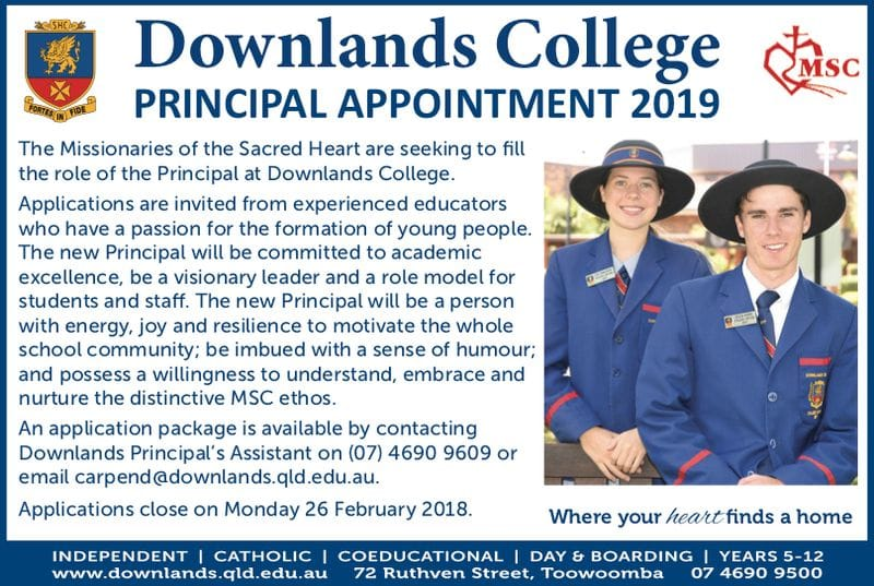 Principal Vacancy - Downlands College, Qld for 2019