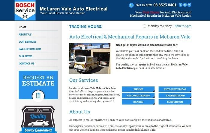 New Website Launched for McLaren Vale Auto Electrical