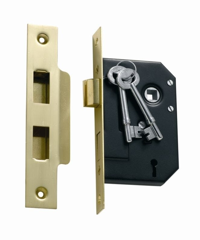 3 Lever Mortice Lock Polished Brass1130