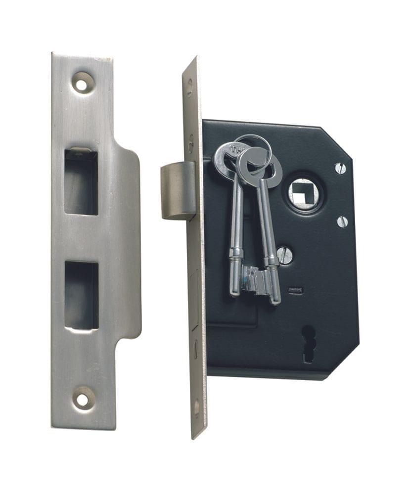 3 Lever Mortice Lock Satin Chrome1132