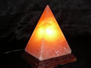 Medium Pyramid Salt Lamp Dark Marble Base 2 -3 kg