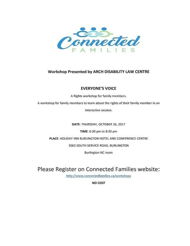 Reminder: Oct 26th ARCH Disability Law Centre
