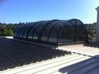 Geelong - An exterior view of the closed bi-parting barrel vault style retractable roof
